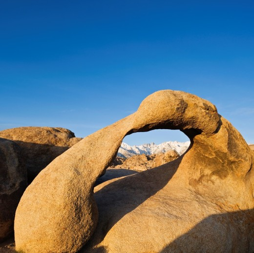 Mobius arch at Alabama Hills, near Lone Pine, California : Stock Photo