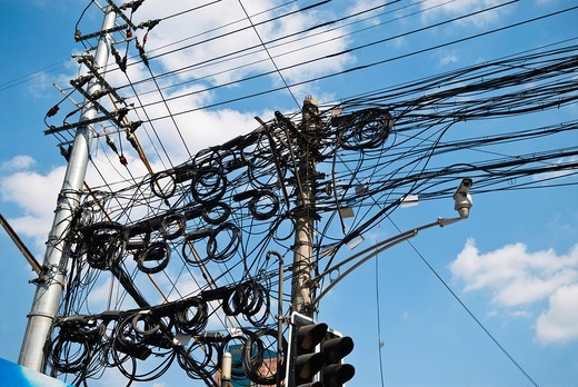 Stock Photo: 1566-792704 Tangle of powerlines, Shanghai, China