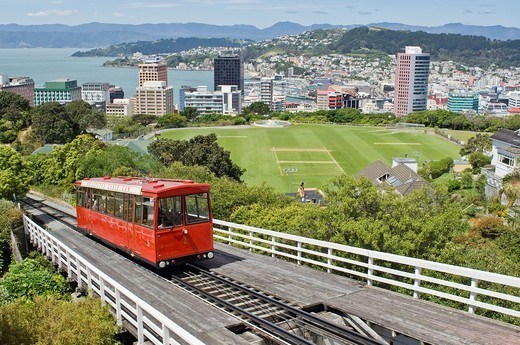 Wellington cable car and view of city, New Zealand : Stock Photo