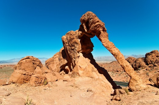Elephant Rock, rock formation at dusk, Valley of Fire State Park, Nevada, USA : Stock Photo
