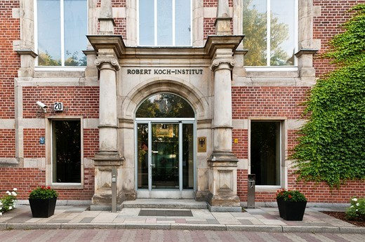 Stock Photo: 1566-792922 Main entrance of the Robert Koch Institute, Berlin, Germany