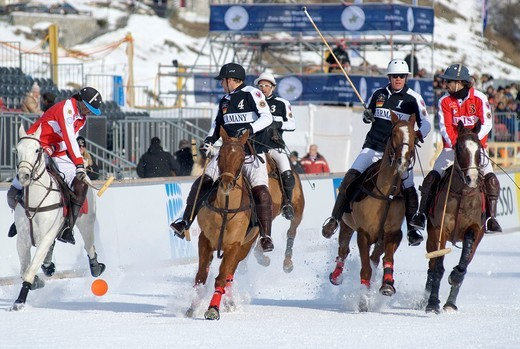 Stock Photo: 1566-794026 Polo Player during the Snow Polo World Cup 2011 Match Germany-Switzerland, St Moritz, Switzerland
