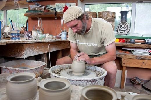 Ceramist in Piusa Pottery Workshop, Setomaa, Võru County, Estonia, Europe : Stock Photo