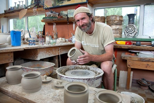Ceramist in Piusa Pottery Workshop, Setomaa, Võru County, Estonia, Europe : Stock Photo