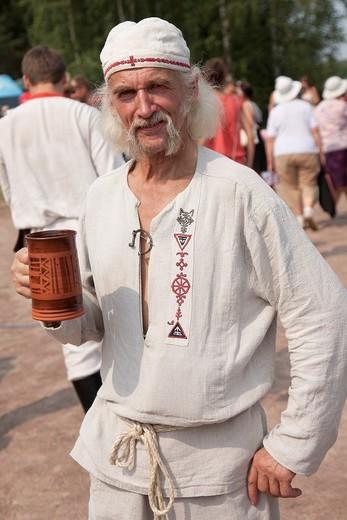 Man Holding Beer Cup Women in Seto Folk Festival, Setomaa, Põlva County, Estonia, Europe : Stock Photo