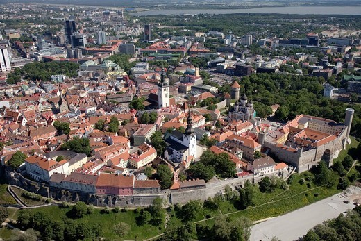 Stock Photo: 1566-794981 Aerial View of Old Medieval Tallinn in Estonia, Europe