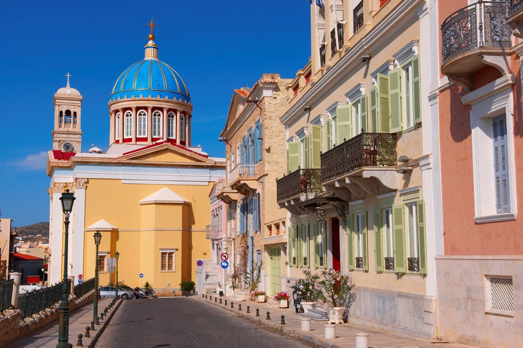 Stock Photo: 1566-795268 The Neo Classic buildings & Greek OrthodoxChurchof Saint Nicholas, Ermoupolis, Syros, Greek Cyclades Islands