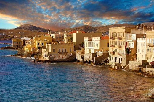 Stock Photo: 1566-795274 Bay and buildings of Ermoupolis, Syros  S  , Greek Cyclades Islands