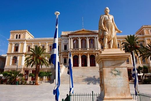 Stock Photo: 1566-795288 Statue of Andreas Miaoulis, celebrated admiral of the Greek War of Independence, and the Neo Classic City Hall of Ermoupolis, Miaoulis Square, Syros  S  , Greek Cyclades Islands