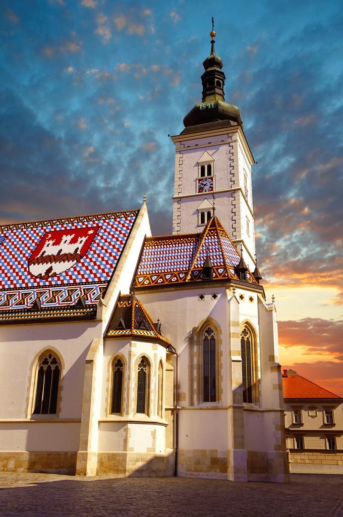Late Gothic church of St  Mark´s Church Crkva sv  Marka , Zagreb, Croatia : Stock Photo