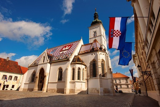 Stock Photo: 1566-795344 Late Gothic church of St  Mark´s Church Crkva sv  Marka , Zagreb, Croatia