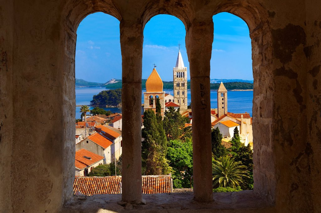 Stock Photo: 1566-795822 View from St John Church tower over the medieval roof tops of Rab town Rab Island, Craotia