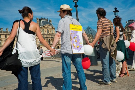 Stock Photo: 1566-796329 Paris, France, People Protesting Nuclear Energy, Human Chain at Louve Museum Pyramid