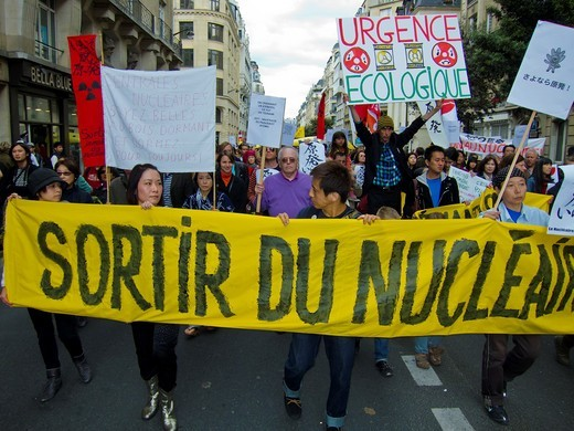 Stock Photo: 1566-796691 Paris, France, Environmental Demonstration Against Nuclear Power, Japanese Citizens Holding Banners,