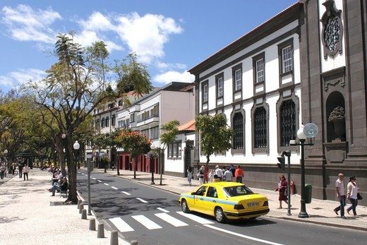 View along the Avenida Arriaga Funchal Madeira : Stock Photo