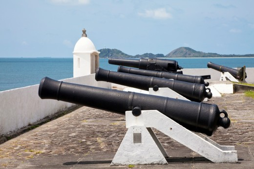 Stock Photo: 1566-797780 fortress at the sea with guns, Ilha do Mel, Brazil