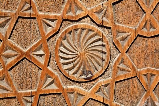 Uzbekistan - Bukhara - carved wooden door of the Chashma Ayab Mausoleum : Stock Photo