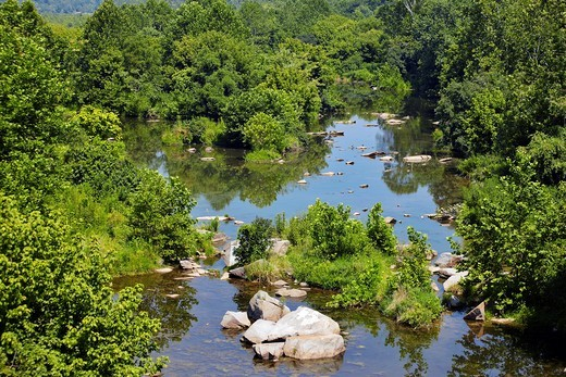 The Potomac River floodplain on the north side of Chain Bridge, Potomac, Maryland : Stock Photo
