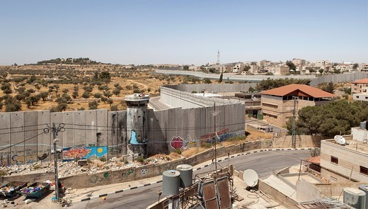 View of the separation wall surrounding Bethlehem,Palestine : Stock Photo