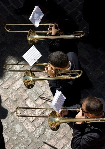 Members of music band performs in an Easter Holy Week procession in Cordoba, Andalusia, Spain, April 17, 2011 : Stock Photo