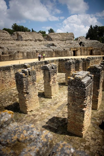 The amphitheater pit of the ruins of the ancient Roman city of Italica, Santiponce, Seville province, Andalusia, Spain, April 20, 2011 : Stock Photo