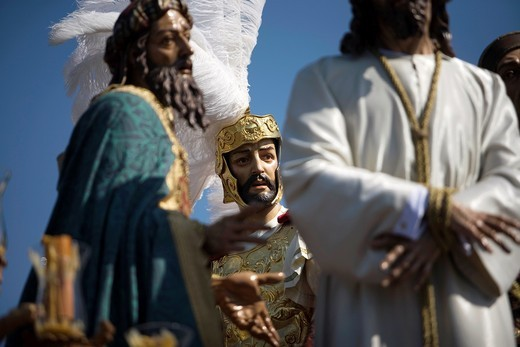 The Jesus del Silencio brotherhood, known as the Brotherhood of Love displays an sculpture representing the King Herod´s contempt to Jesus Christ during an Easter Holy Week procession in Cordoba, Andalusia, Spain, April 17, 2011 : Stock Photo