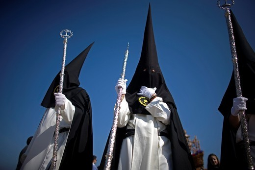 Penitents of the Jesus del Silencio brotherhood, known as the Brotherhood of Love perform in an Easter Holy Week procession in Cordoba, Andalusia, Spain, April 17, 2011 : Stock Photo