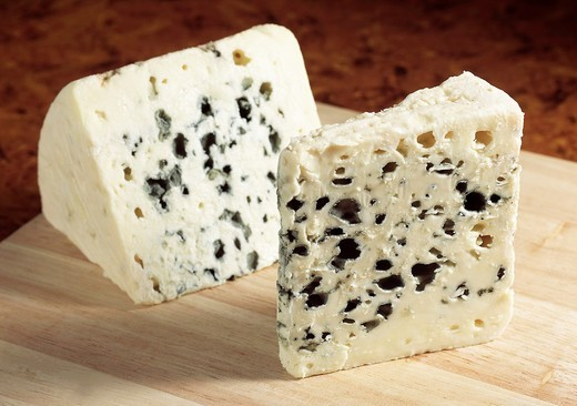 French Cheese Called Roquefort, Cheese made with Ewe´s Milk : Stock Photo