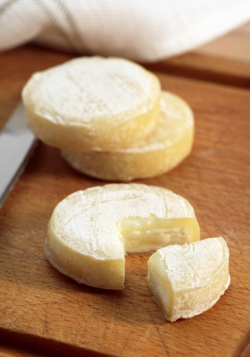 French Cheese Called Rocamadour, Cheese made with Goat Milk : Stock Photo