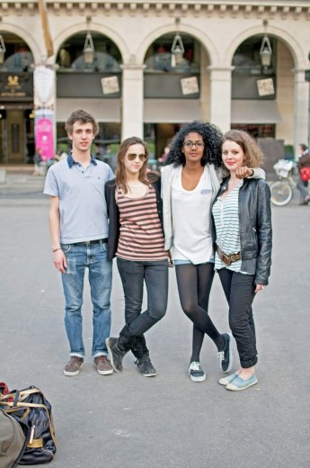 Paris Street Style / Benjamin, Marine, Carmen and Sarah / Students / 18-20 : Stock Photo