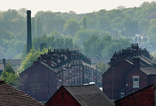 Stock Photo: 1566-804162 An urban landscape of Potteries factory housing in Middleport, Stoke-on-Trent, Staffordshire, England