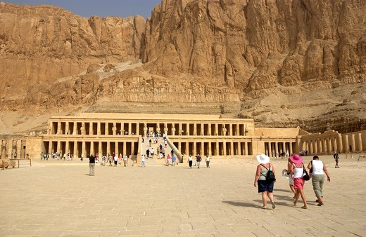 Tourist´s visit Hatshepsut Temple, Valley of the Queens, West Bank Luxor Egypt, North Africa : Stock Photo