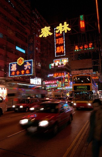 Neon signs on Nathan Road Kowloon, Hong Kong, China, Far East, Asia : Stock Photo