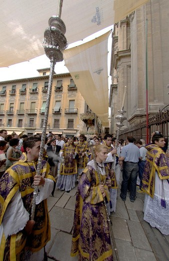 Stock Photo: 1566-804343 Religious procession through the streets of Granada to commemorate the 25th Anniversary of the brotherhood of the Cathedral, Granada, Andalucia, Spain, Europe