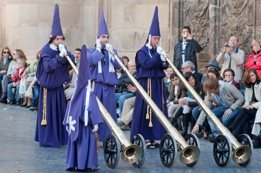 Stock Photo: 1566-804489 Morning Good Friday or Holy Friday Easter procession through the streets of Murcia, Plaza del Cardinal Belluga, City of Murcia, South Eastern Spain, Europe