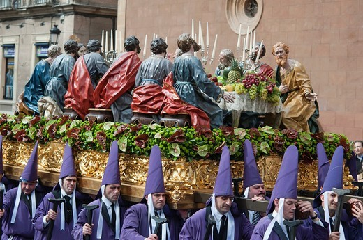 Stock Photo: 1566-804503 Morning Good Friday or Holy Friday Easter procession through the streets of Murcia, City of Murcia, South Eastern Spain, Europe
