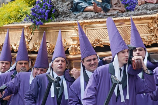 Morning Good Friday or Holy Friday Easter procession through the streets of Murcia, City of Murcia, South Eastern Spain, Europe : Stock Photo