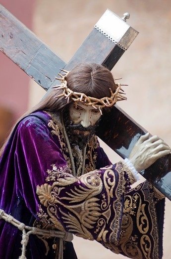 Stock Photo: 1566-804506 Morning Good Friday or Holy Friday Easter procession through the streets of Murcia, City of Murcia, South Eastern Spain, Europe