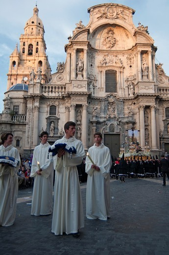 Stock Photo: 1566-804524 Evening Good Friday or Holy Friday Easter procession through the streets of the city of Murcia, South Eastern Spain, Europe
