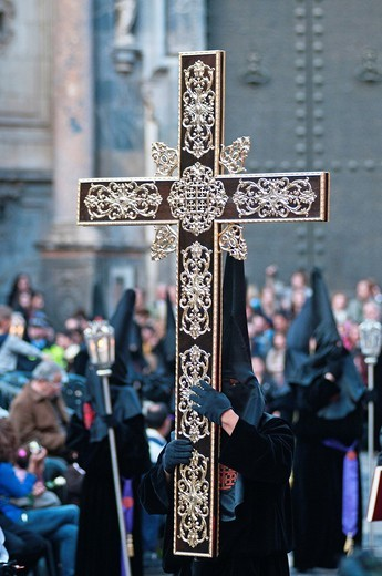Evening Good Friday or Holy Friday Easter procession through the streets of the city of Murcia, South Eastern Spain, Europe : Stock Photo