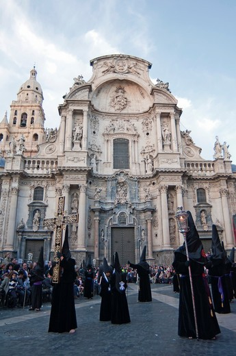 Stock Photo: 1566-804528 Evening Good Friday or Holy Friday Easter procession through the streets of the city of Murcia, South Eastern Spain, Europe