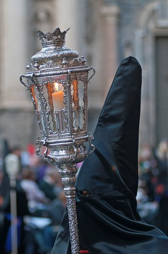 Stock Photo: 1566-804529 Evening Good Friday or Holy Friday Easter procession through the streets of the city of Murcia, South Eastern Spain, Europe