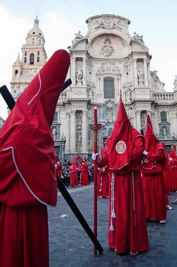Stock Photo: 1566-804530 Evening Good Friday or Holy Friday Easter procession through the streets of the city of Murcia, South Eastern Spain, Europe