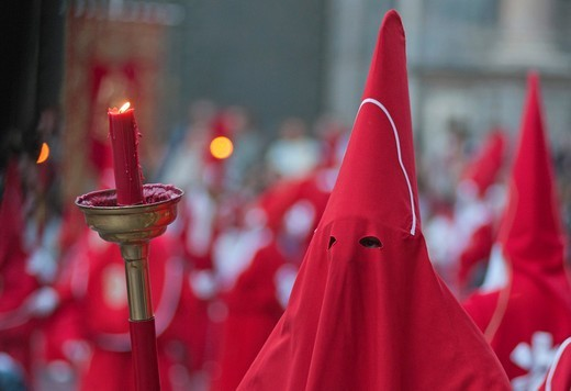 Stock Photo: 1566-804531 Evening Good Friday or Holy Friday Easter procession through the streets of the city of Murcia, South Eastern Spain, Europe