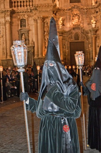 Stock Photo: 1566-804539 Evening Good Friday or Holy Friday Easter procession through the streets of the city of Murcia, South Eastern Spain, Europe