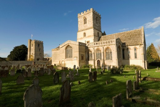 Stock Photo: 1566-804571 St Michael´s church and Pope´s tower, named after the poet Alexander Pope, Stanton Harcourt, Oxfordshire, England, Europe