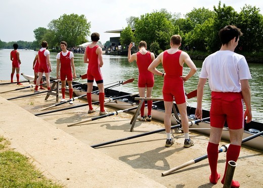 Stock Photo: 1566-804575 Student rowers before race during the annual Oxford University Eights Week rowing competition, Oxford, England, UK