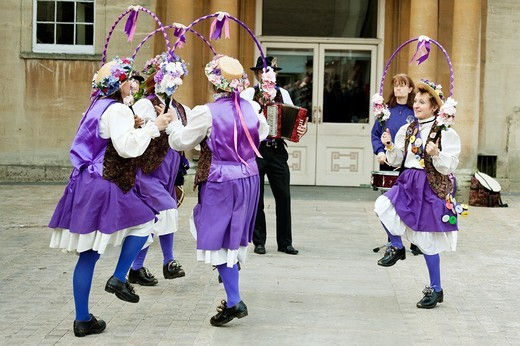 Morris dancers performing at the Oxford Folk Festival, Oxford, UK : Stock Photo