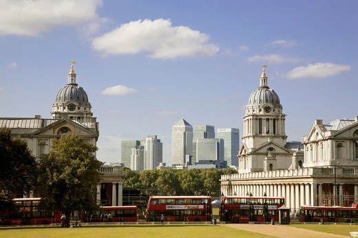 Stock Photo: 1566-804581 View of the old Royal Naval College, Greenwich with Canary Wharf in the distance