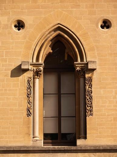 Ornate window, Oxford University natural history museum, Oxford, UK : Stock Photo